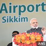 Pakyong: Prime Minister Narendra Modi addresses at the inauguration of Sikkim's first airport, at Pakyong, on Sept 24, 2018. The Pakyong Airport is Sikkim's first airport, located at a height of 4,500 ft above sea level. The airport is expected to give a